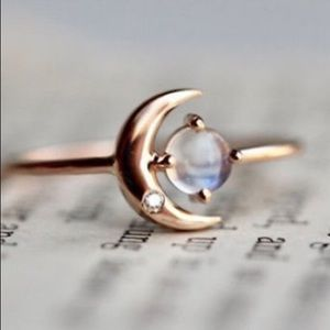 Jewelry - Rose Gold Plated Sterling Moon Ring